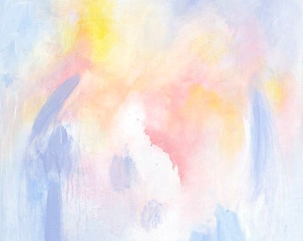 "ABSTRACT painting, Pink and Yellow, Giclee print of original painting ""Dance of the Nymphs"""