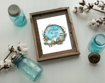 Welcome To Our Nest Wreath Art Print