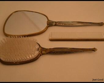 Vintage Hair Bush Set: Brush, Comb, Mirror. Vintage Vanity Set, Hand Mirror, Brush, And Comb Set, Vintage Dresser Set
