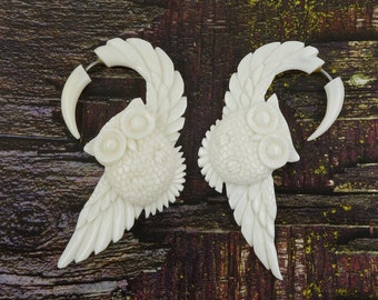 Owl Fake Gauges Earrings - Recycled Bone - Free Shipping
