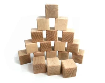 Blocks large baby, 18 building cubes, block of wood to size, natural
