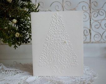 Embossed Christmas Card Set, Christmas tree cards, Holiday Card Set, Merry Christmas Card Set, Set of 6.