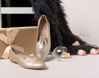 Metallic shoes, Gold flats, Gold leather shoes, Gold Wedding Shoes, Leather shoes, Gold flat shoes, Party shoes, Fringe shoes