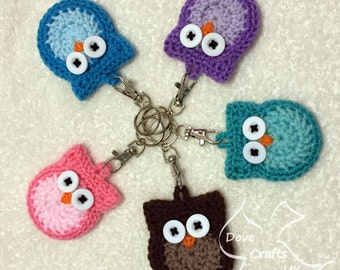 Cute Owl Key Ring, Handmade Crochet CUSTOM COLOURS AVAILABLE (Keyring, key chain, fob, gift)