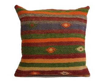 Handmade Turkish Kilim Pillow 20x20 Kilim Pillow Anatolian Turkish Decorative Kilim Pillow Sofa Pillow Vintage Kilim Pillow Navajo b403