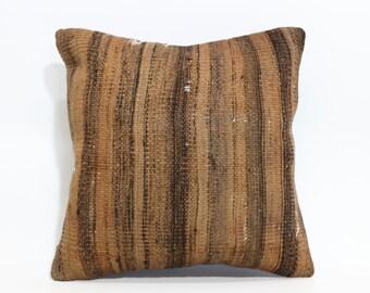 Striped Kilim Pillow Throw Pillow 16x16 Decorative Kilim Pillow Ethnic Pillow Anatolian Kilim Pillow Throw Pillow SP4040 1595