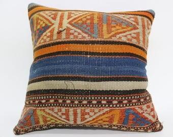 14x14 Throw Pillow Sofa Pillow Handwoven Kilim Pillow 14x14 Turkish Kilim Pillow Home Decor Bohemian Pillow Cushion Cover  SP3535-263