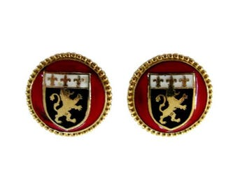 Vintage Coro Gold Tone & Enamel Heraldic Crest Earring Clips