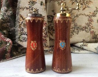 Vintage salt and pepper wood and leather Florentine set