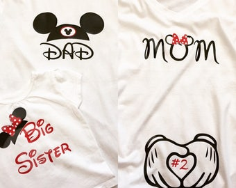 Disney Inspired Pregnancy/Maternity tank or shirt/ Family announcement shirts