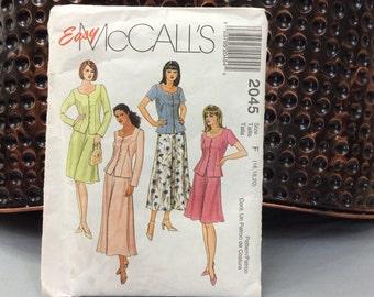 Plus Size Dress Pattern, Uncut Pattern, McCall's Dress Pattern, 1999 Pattern, Top and Skirt Pattern, 2045, Size F 16 18 20, Sewing Pattern