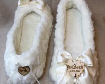 Bride or Bridesmaid Personalised  wedding  slippers