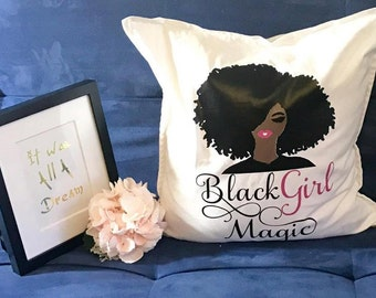 Sale | Black Girl Magic | Dorm Room Decor | Throw Pillow | Home Decor | Natural Hair | Melanin | Graduation Gifts | Mothers Day Gifts