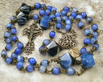 Longevity,Vitality,Protection,Happiness,Prosperity Agate Solid Bronze Antique Style Gemstone Rosary