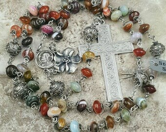 Sacred Heart Sterling Rosary Protection,Harmony,Stability Agate Bali Ornate