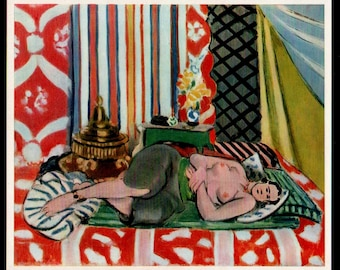 """Henri Matisse 1939 LITHOGRAPH w/COA. Unique Nude Matisse Print after 1928 Classic """"Recumbent Odalisque"""".  Extremely Rare Art. Free Shipping"""