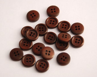 25 Small Dark Brown Wood Buttons, 15 mm, 4 Holes - Wooden Buttons, Set of 25 (RB1502)