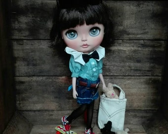 Custom Blythe Dolls For Sale by Ooak 26, original takara blythe doll Fancy Pansy, custom doll on cute licca body and beautiful puppelina eyes