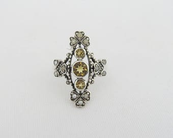 Vintage Sterling Silver Natural Citrine & Seed Pearl Ring Size 7