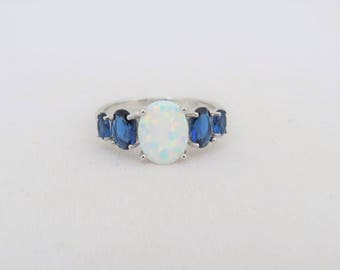 Vintage Sterling Silver White Opal & Blue Sapphire Ring Size 7