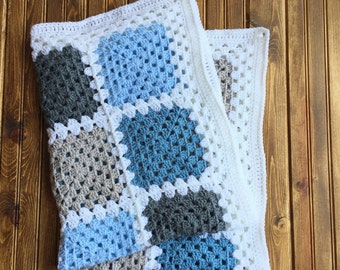 READY TO SHIP. Crochet Baby Blanket. Blue and Gray Baby Blanket. Granny Square Baby Boy Blanket.
