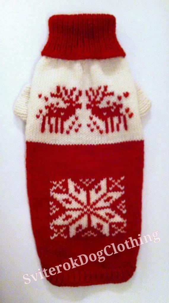 Xl Dog Sweater Knitting Pattern : Knit red warm winter pattern sweater for big dog