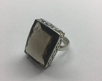 Large sterling silver ring with smoky quartz, size 7.5