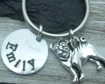 Pug dog hand stamped keyring, pug keychain, pug keyring, personalised pug gift, name gift, custom name word text