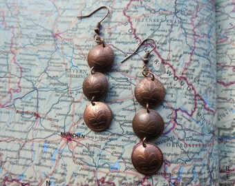 Germany pfennig curved coin earrings - 4 different options - made of coins from Germany