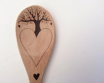 Personalized pyrography tree of life love heart wooden spoon, perfect Valentine's Day, Anniversary, and Engagement gift, customized heart