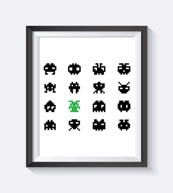 Space Invaders Wall Art Arcade Arcade Game Instant