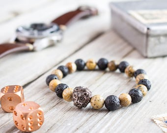 8mm - Black lava stone and brown jasper stone beaded gunmetal black Lion head stretchy bracelet, mens bracelet, womens bracelet