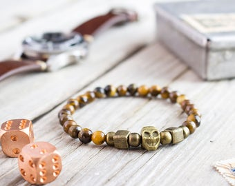 6mm - Tiger eye beaded stretchy bronze skull bracelet, custom made yoga bracelet, mens bracelet, tiger eye bracelet