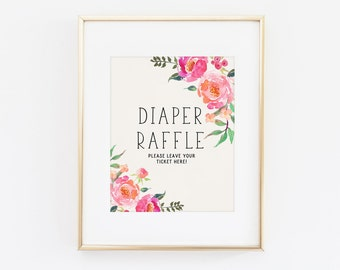 Baby shower sign - Diaper raffle sign - Diaper raffle printable - Printable baby shower - Girl baby shower - Pink peach flowers
