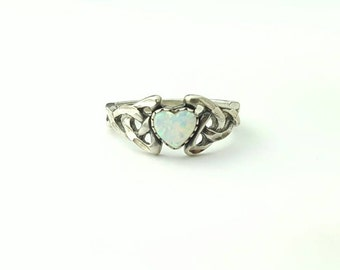 Vintage Sterling Silver Opal Heart Celtic Knot Ring- Size 6