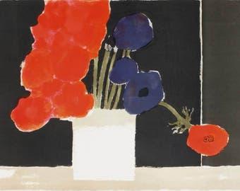 "BERNARD CATHELIN Original Lithograph ""Anémones au Fond Noir"", COA"