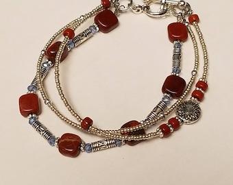 Genuine Red Jasper Multi-Strand Beaded Bracelet, Silver,Crystal,Multi Strand