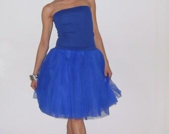 Tulle skirt petticoat Royal Blue skirt length 55 cm