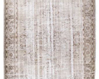 6.2x10 Ft Light Gray Color Distressed Vintage Turkish Rug. Old handmade carpet for contemporary interior design.   A331