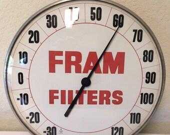 Vintage Fram Filters Thermometer, Vintage Thermometer, Advertising Thermometer, Gas and Oil, Advertising, Vintage Sign, Advertising Sign