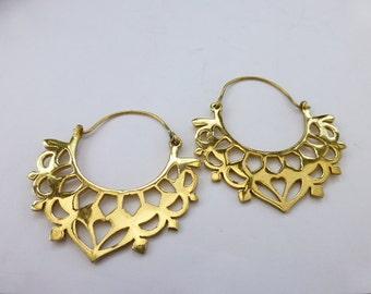 Ethnic, brass, large, statement hoop earrings UK seller