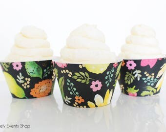 Summer Flower & Fruit Cupcake Wrappers, Flower Cupcake Wrappers, Mother's Day Cupcake Wrappers, Wedding Cupcakes, Spring-Set Of 6, 12,18,24+