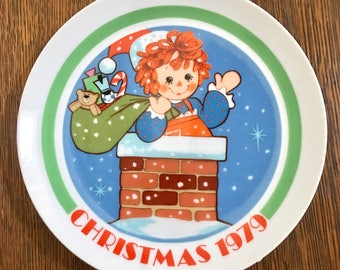 Vintage Raggedy Ann Collector Plate / Christmas 1979 / Christmas Collector Plate / Raggedy Ann / Raggedy Ann Collector Plate 1979