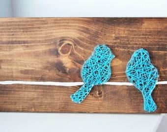String Art, Bird art, Bird string art, Wood art, Home decor, bird on a wire, blue bird