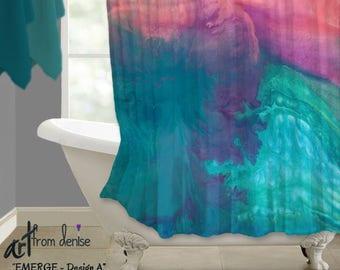 Modern shower curtain, Teal turquoise blue coral purple, Bath decor, Jewel tone, Abstract art, Bathroom decor, Contemporary