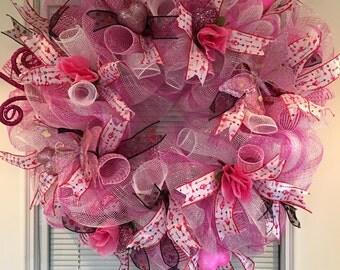 Valentine Red Heart Deco Mesh Wreath/Valentine Wreath/Heart Wreath/Valentines Day Wreath/Red Heart Wreath/Valentine deco