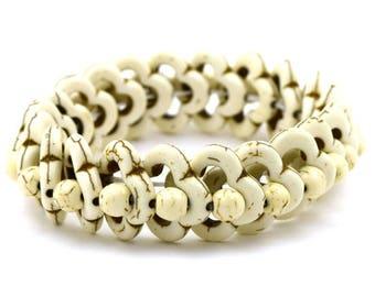 "20mm turquoise stretch bracelet 8"" white 35375"