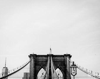 New York City Brooklyn Bridge Photo Print | Black and White Photography | NYC  Bridge | Photography Gift | Brooklyn NY | Wall Decoration Art