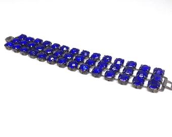 Exquisite Gorgeous Estate Indigo Dark Blue Rhinestone Silver Tone Bracelet