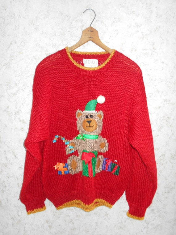 Vintage 80s Teddy Bear Ugly Christmas Sweater Party Pullover